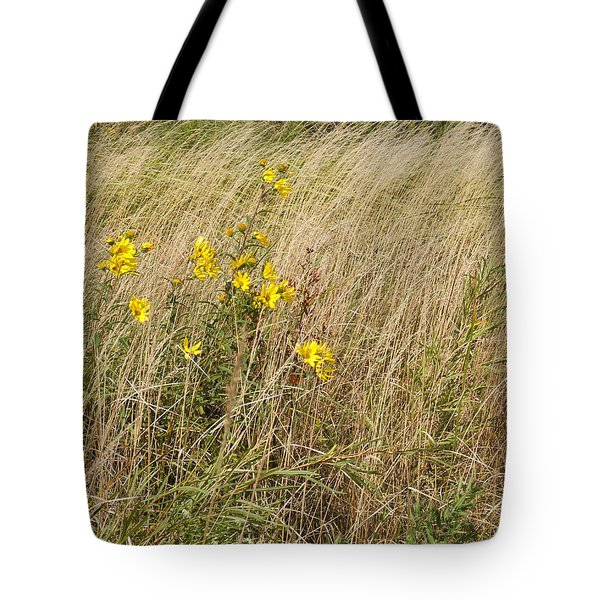 Sunflowers In A Sea Of Grass Tote Bag by Scott Kingery
