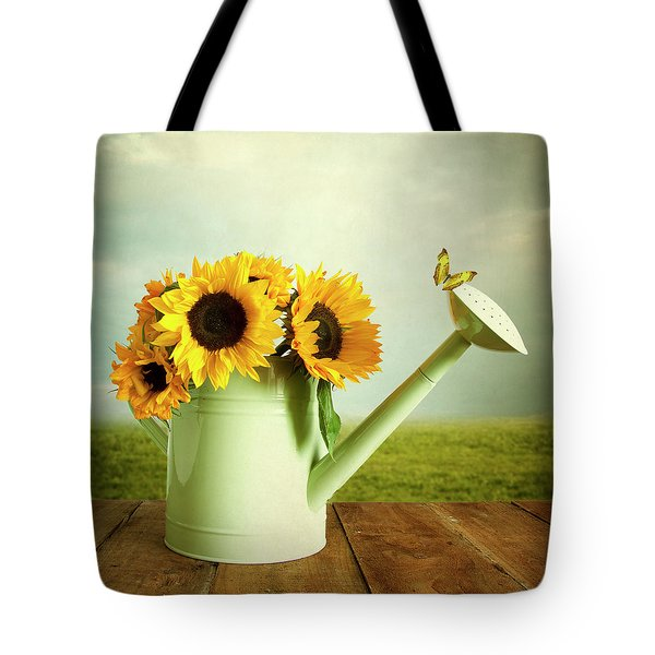 Sunflowers In A Watering Can Tote Bag
