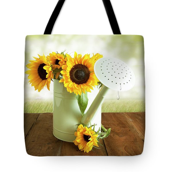 Sunflowers In An Old Watering Can Tote Bag