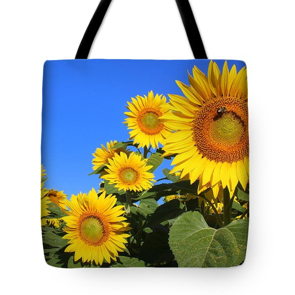 Sunflowers In Blue Tote Bag