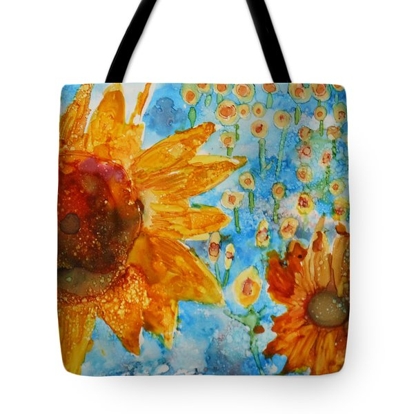 Sunflowers In Fields Tote Bag
