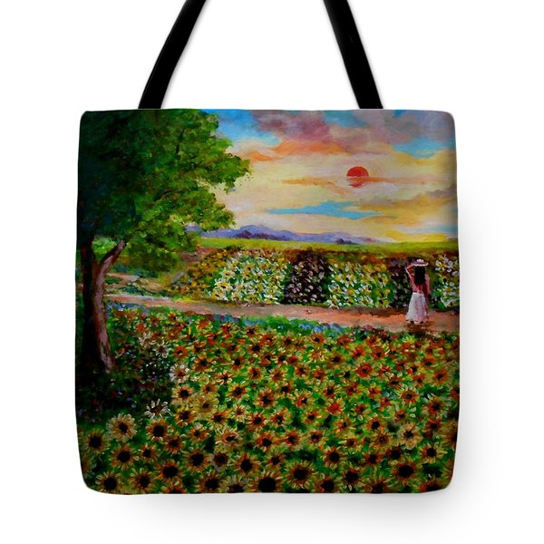 Sunflowers In Sunset Tote Bag