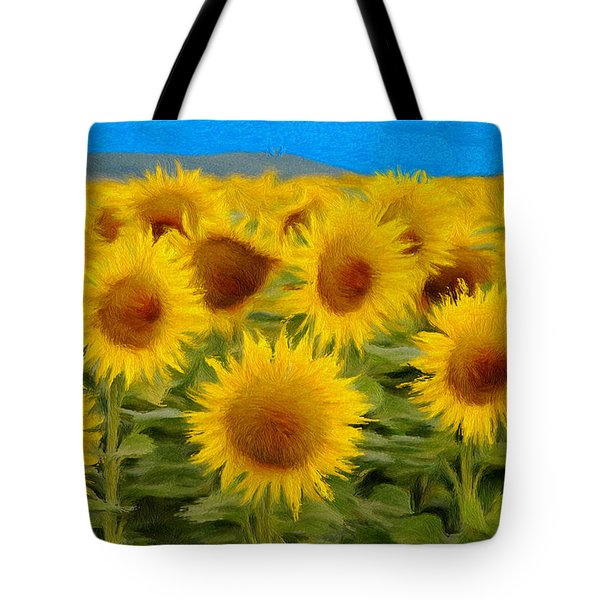 Sunflowers In The Field Tote Bag