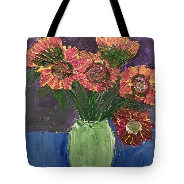 Tote Bag featuring the painting Sunflowers In Vase by Joshua Redman