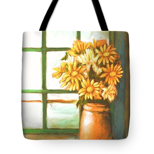 Tote Bag featuring the painting Sunflowers In Window by Winsome Gunning