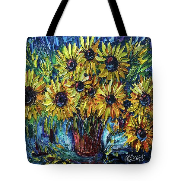 Sunflowers In A Vase Palette Knife Painting Tote Bag