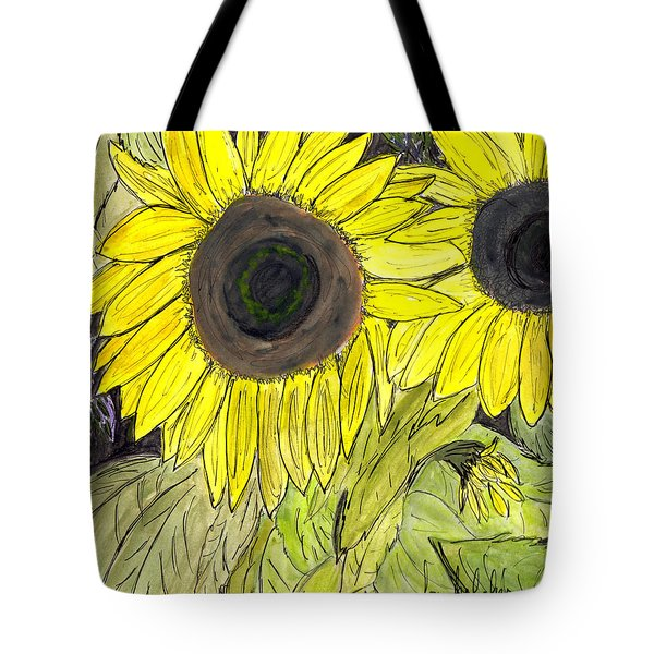 Tote Bag featuring the painting Sunflowers by Lou Belcher