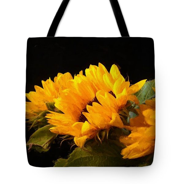 Sunflowers On A Black Background Tote Bag