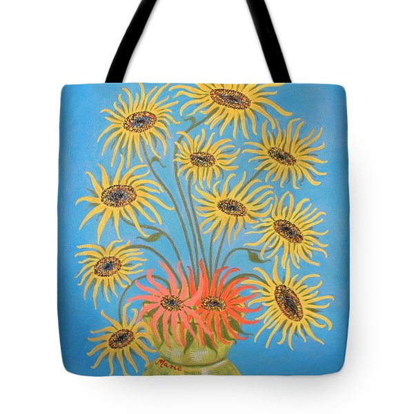 Sunflowers On Blue Tote Bag by Marie Schwarzer