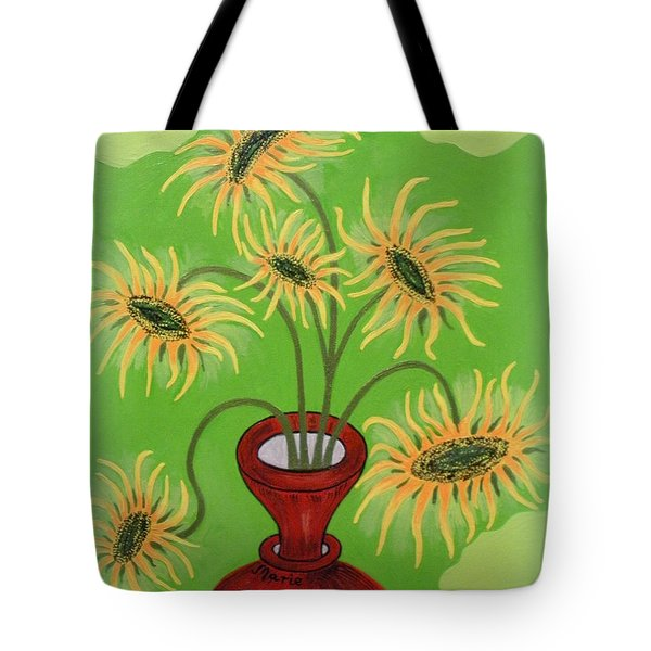 Sunflowers On Green Tote Bag