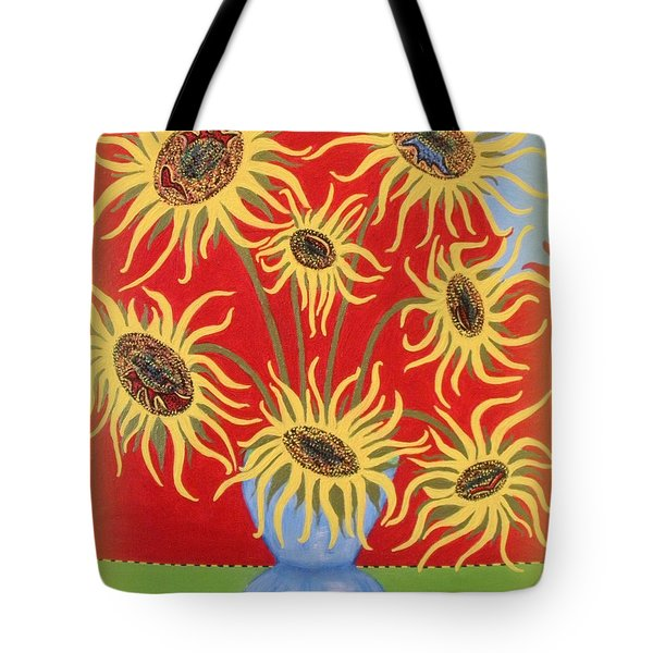 Sunflowers On Red Tote Bag by Marie Schwarzer