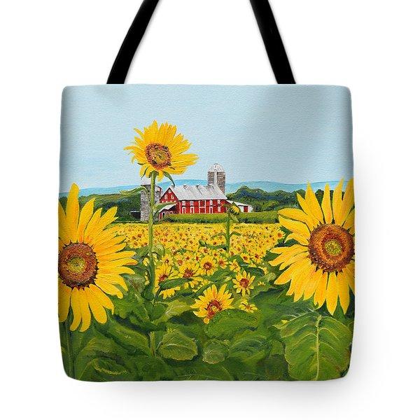 Sunflowers On Route 45 - Pennsylvania- Autumn Glow Tote Bag
