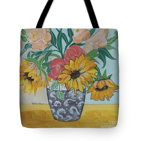 Tote Bag featuring the painting Sunflowers Three by Robin Maria Pedrero