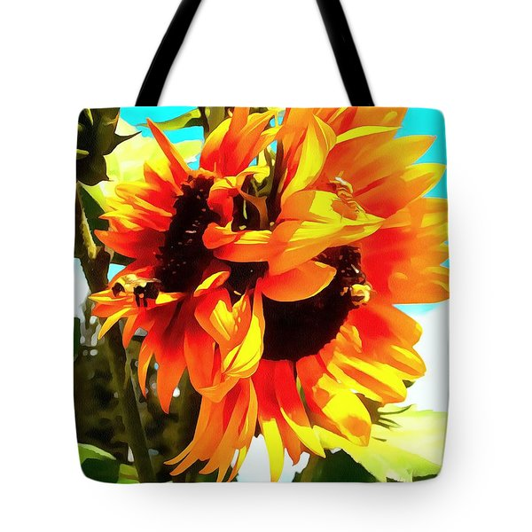 Tote Bag featuring the photograph Sunflowers - Twice As Nice by Janine Riley