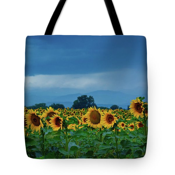 Sunflowers Under A Stormy Sky Tote Bag