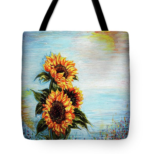 Sunflowers - Where Ocean Meets The Sky Tote Bag