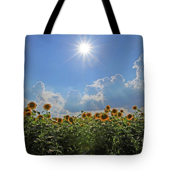 Sunflowers With Sun And Clouds 1 Tote Bag