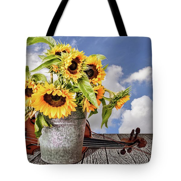 Sunflowers With Violin Tote Bag