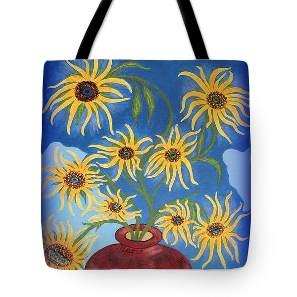 Sunflowers On Navy Blue Tote Bag