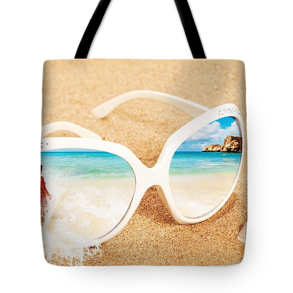 Sunglasses In The Sand Tote Bag