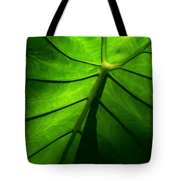 Sunglow Green Leaf Tote Bag