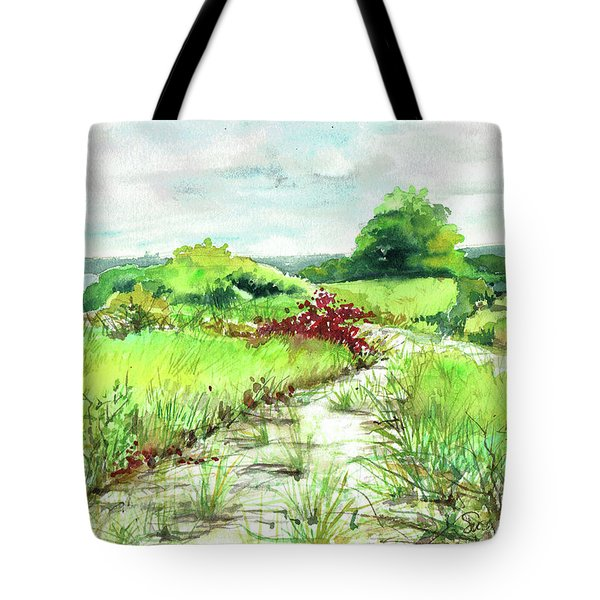 Tote Bag featuring the painting Sunken Meadow, September by Susan Herbst