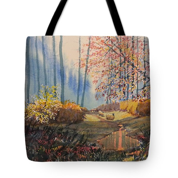 Sunlight And Sheep In Sledmere Woods Tote Bag
