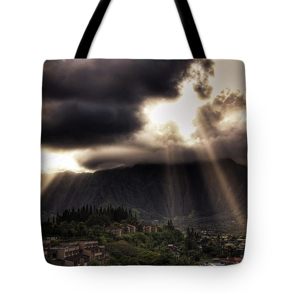 Sunlight Breaking Through The Gloom Tote Bag