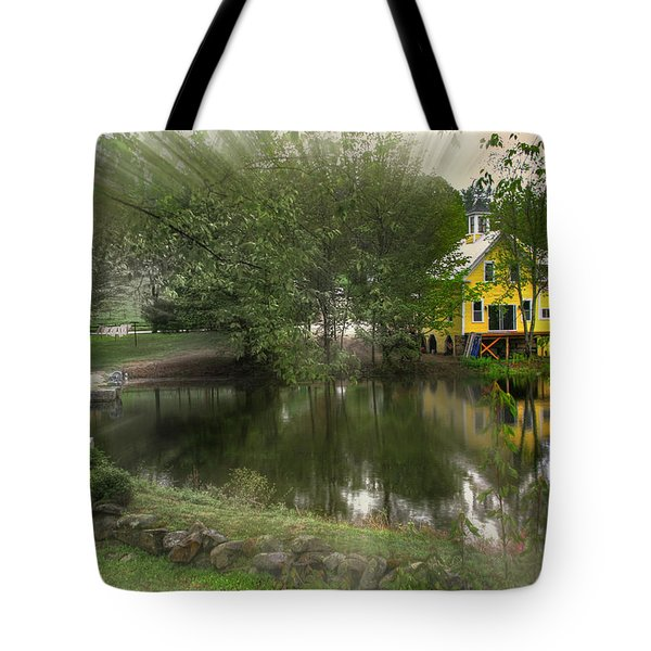 Sunlight Breaks Through On Chocorua Pond Tote Bag