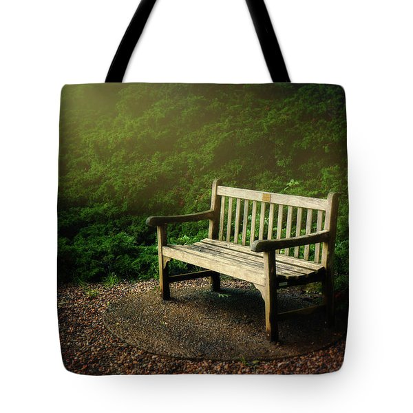 Sunlight On Park Bench Tote Bag