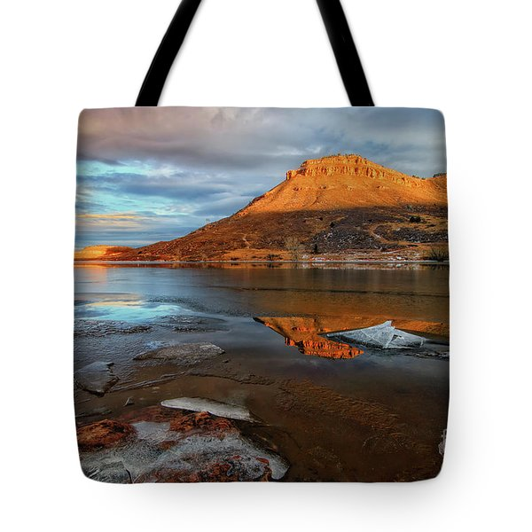 Sunlight On The Flatirons Reservoir Tote Bag