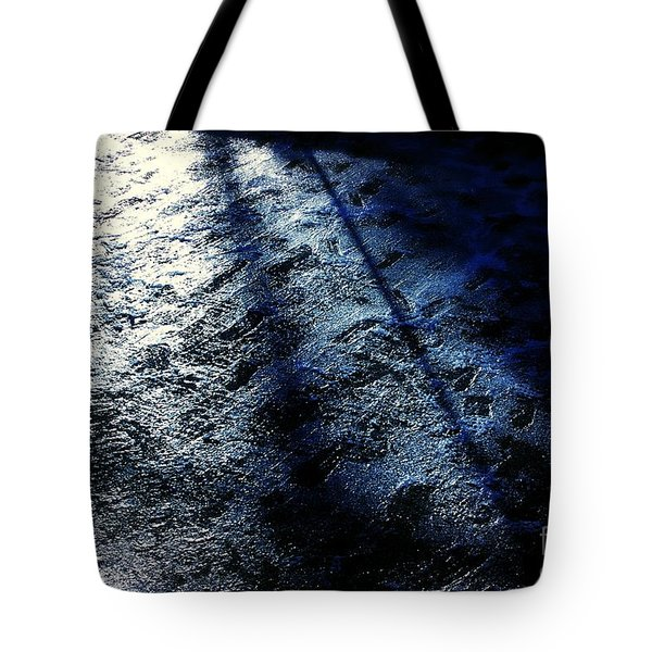Sunlight Shadows On Ice - Abstract Tote Bag