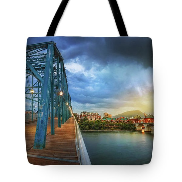 Sunlight Thru Rain Over Chattanooga Tote Bag