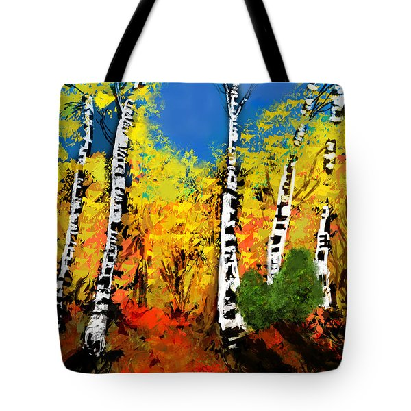 Tote Bag featuring the digital art Sunlit Autumn Birches by Diana Riukas