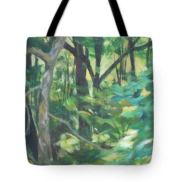 Sunlit Backyard Tote Bag
