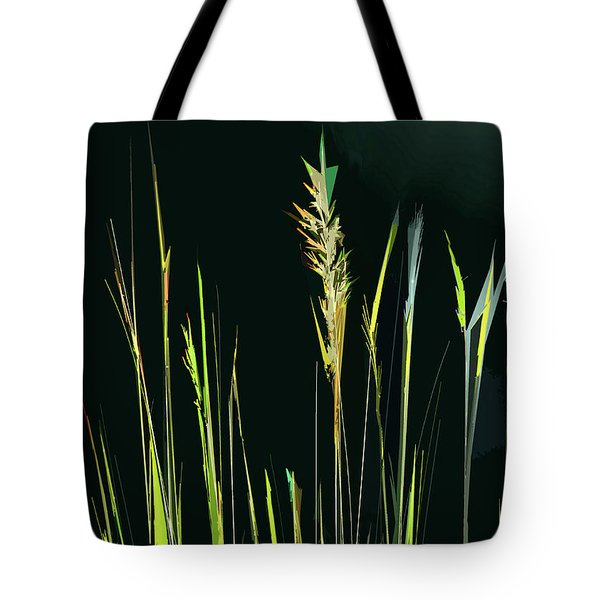 Tote Bag featuring the digital art Sunlit Grasses by Gina Harrison