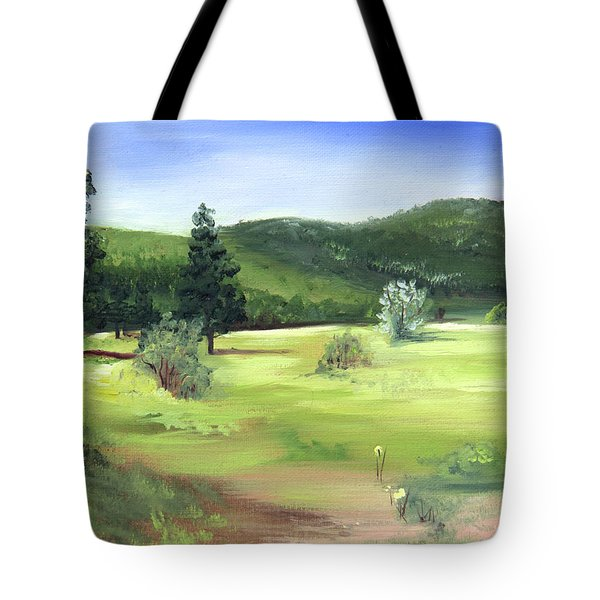 Tote Bag featuring the painting Sunlit Mountain Meadow by Jane Autry