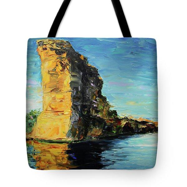 Sunlit Rock Face Tote Bag