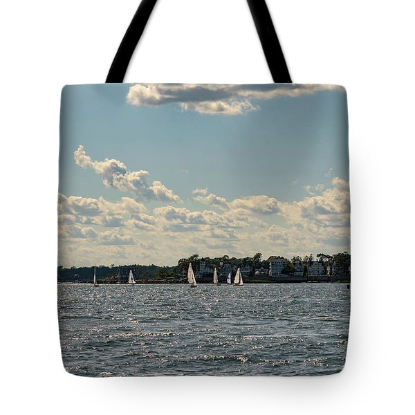 Sunlit Sailboats Norwalk Connecticut From The Water Tote Bag