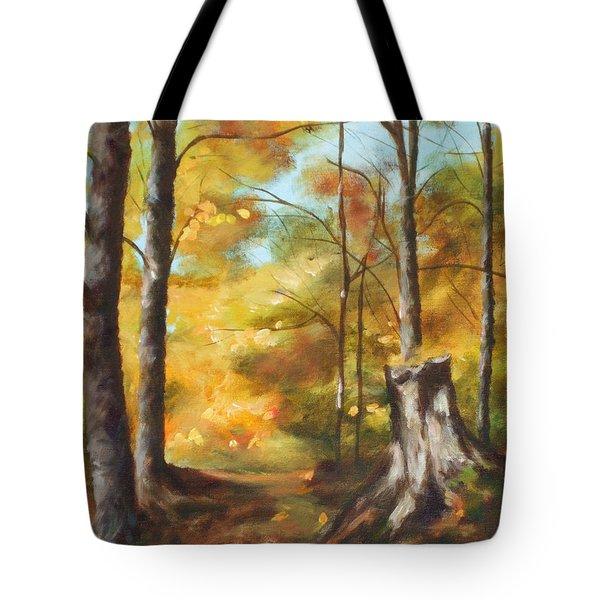 Sunlit Tree Trunk Tote Bag