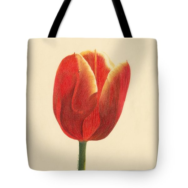 Tote Bag featuring the drawing Sunlit Tulip by Phyllis Howard