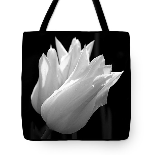 Sunlit White Tulips Tote Bag by Rona Black