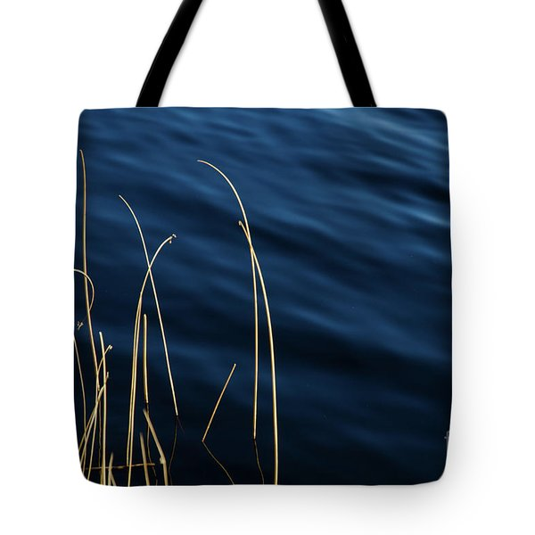 Tote Bag featuring the photograph Sunlt Grass Straws In Blue Water by Kennerth and Birgitta Kullman