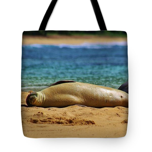 Sunning On The Beach In Hawaii Tote Bag