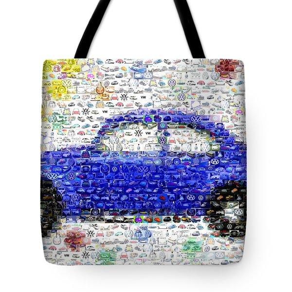 Sunny Blue Vw Bug Mosaic Tote Bag by Paul Van Scott