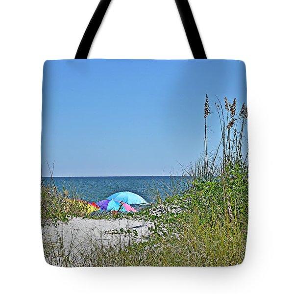 Sunny Day Umbrellas Tote Bag by Linda Brown