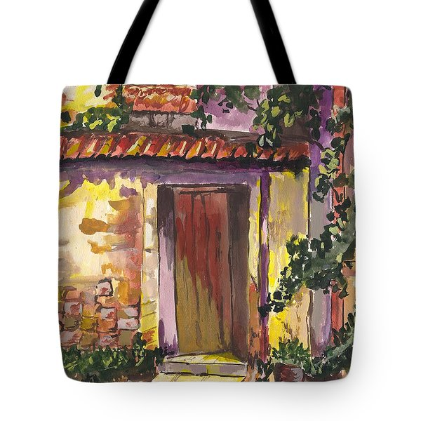 Tote Bag featuring the digital art Sunny Doorway by Darren Cannell