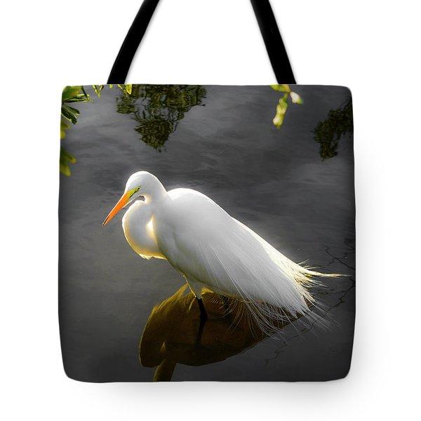 Sunny Egret Tote Bag