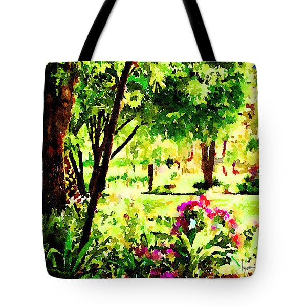 Tote Bag featuring the painting Sunny Hangout by Angela Treat Lyon