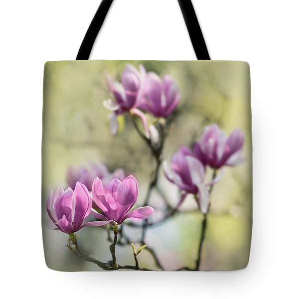 Sunny Impression With Pink Magnolias Tote Bag